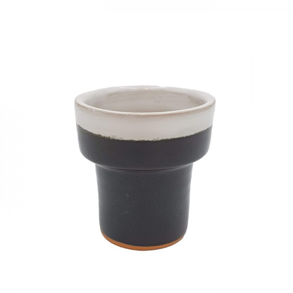 Cup-candleholder-pot Tall 2tone black/wh