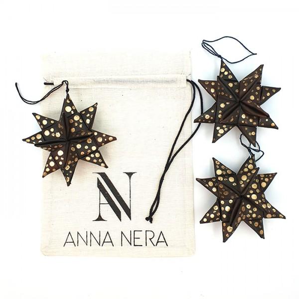 Star palmleaf set/3 dark/gold AN pouch