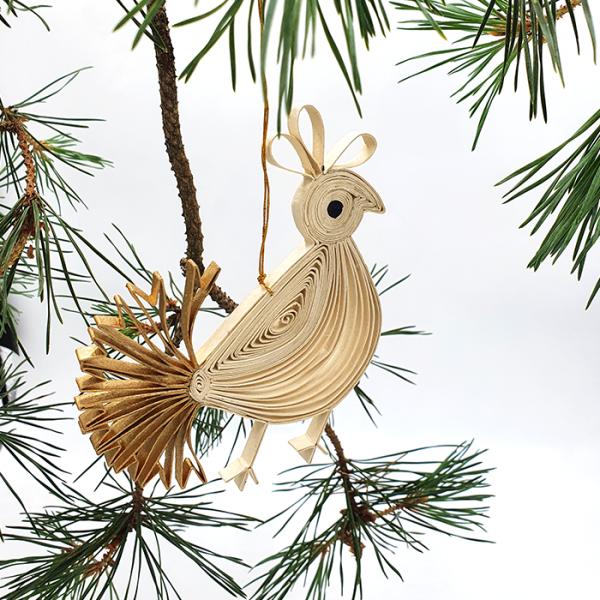 Goldtail Bird in box natural gold 13x12cm