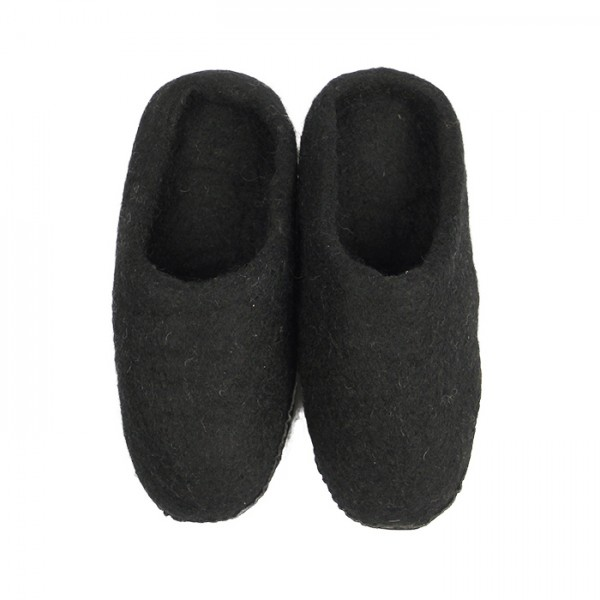 Slippers w-leather sole Black