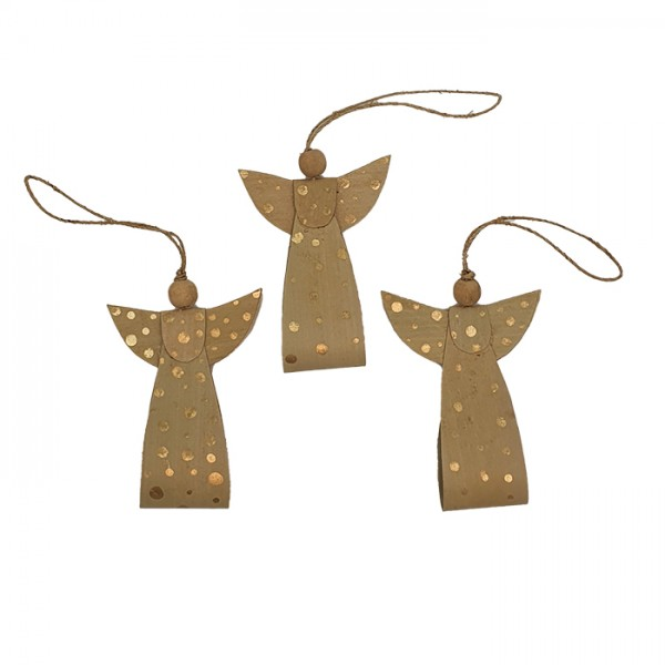 Angel ornament natural/gold AN pouch set/3