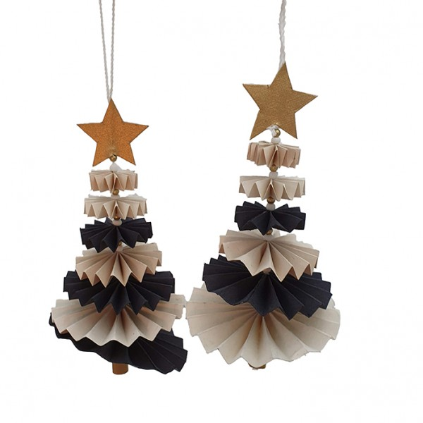 Tree dancing ornament offwhite set/2