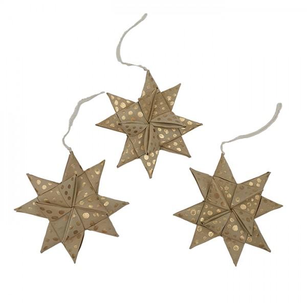 Star palmleaf set/3 nat/gold AN pouch