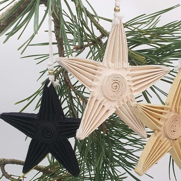 Star ornament folden bl/wh AN pouch set/5